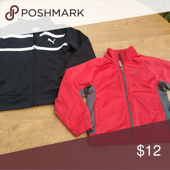 Nike and Puma Boys Toddler Zip up Windbreakers 3/4 Toddler Boys Zip up Windbreakers (2)  Nike-Red- 3T Puma- Black with white trim- 4  Both in great used condition Puma Shirts & Tops Sweatshirts & Hoodies