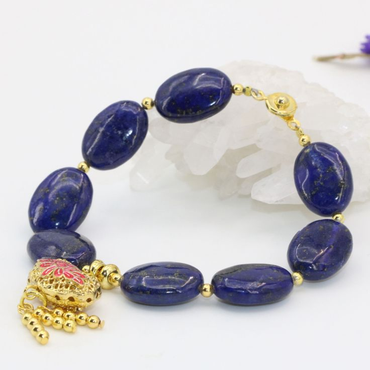Natural Lapis Lazuli 1318mm Oval Beads Beaded Strand Bracelets Gold Color Cloisonne Party