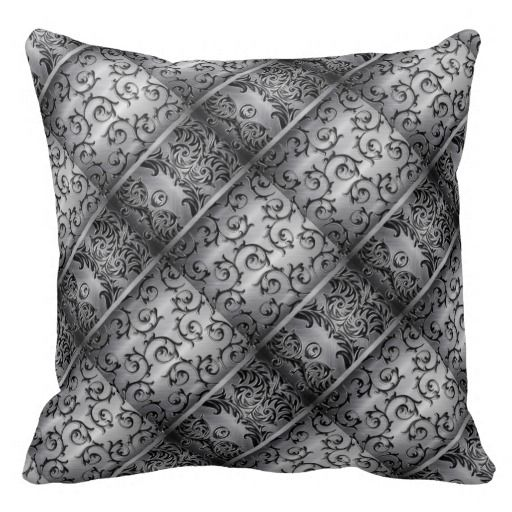 Black Silver Throw Pillow : Black & Silver Curls Diamond Pattern Throw Pillow Diamond pattern, Curls and Throw pillows