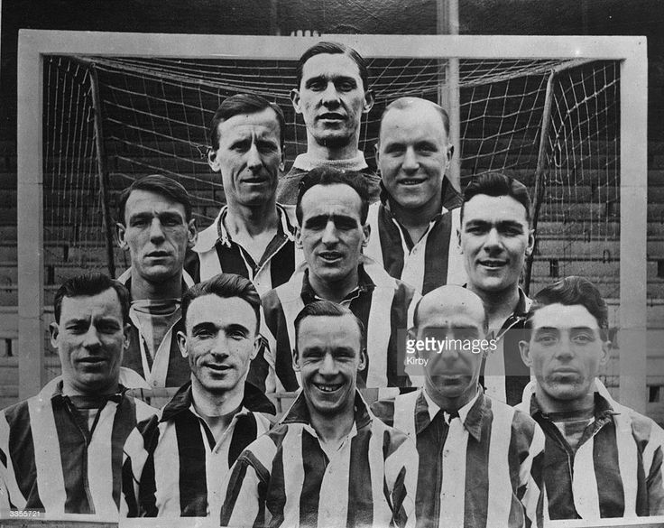 The Sheffield United team that beat Cardiff City 1-0 in the FA Cup final at Wembley. Left to right, back to front: Sutcliffe, Cock, Milton, Pantling, King, Green, Mercer, Sampy, Johnson, W Gillespie, and Tunstall.
