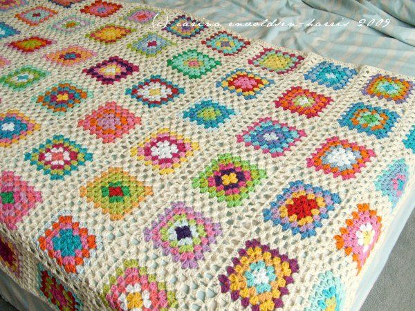 Very nice tutorial for joining granny squares using sets of 2 DC, so continuing the basic granny look.   http://carinascraftblog.wardi.dk/2009/06/granny-square-joining-tutorial.html