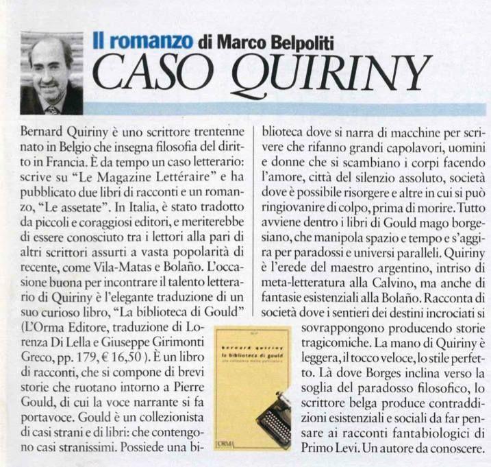 """Il """"caso Quiriny"""" su «L'espresso» del 19/07/13."""