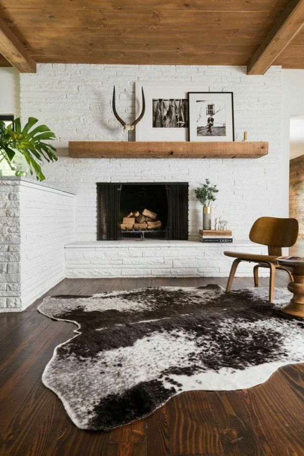 Brick fireplace wooden ceiling white wall http room - Floor to ceiling brick fireplace makeover ...