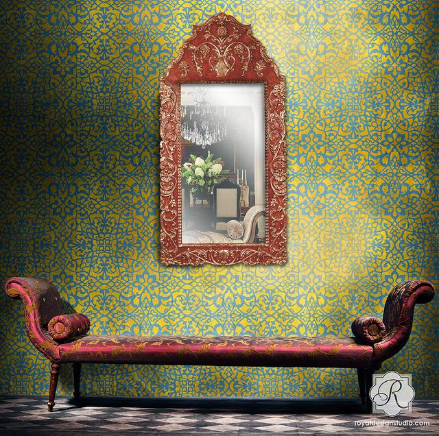 Palace Trellis Allover Moroccan Wall Stencil by Royal Design Studio