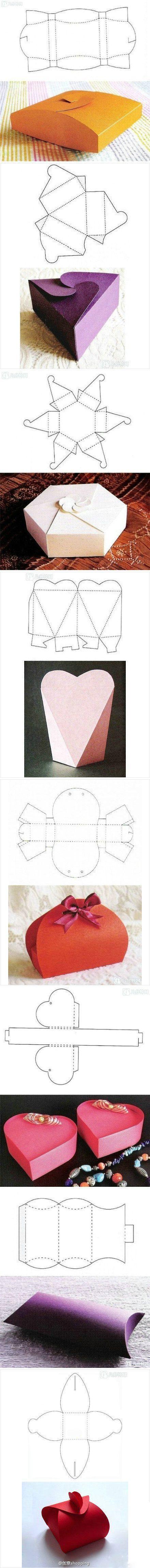 8 caixa de presente criativo, dobrável, simples e amor
