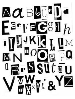 Printable Black and White Magazine Letters Alphabet a-z: W