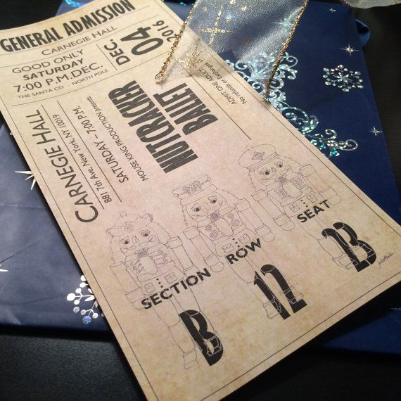 This ballet ticket includes my original hand drawn nutcracker art and is made to look like an over-sized ballet ticket! This works great as an I.O.U. so youre special person has something fun to unwrap. Since every piece of it is editable, it can also be used for ephemera in a scrapbook album. This item is a digital Microsoft Word file. NO physical items will be mailed. Both files have no locks on them so YOU CAN MODIFY ANYTHING. Then just print and cut. I think it works best to print them…