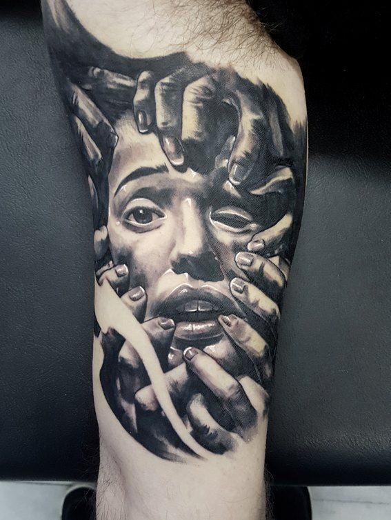 black and grey realistic portrait tattoo by SKERYONE