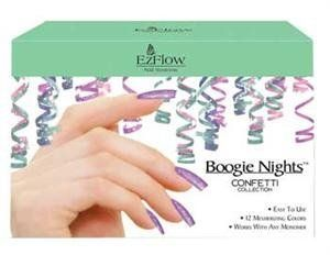 EZ Flow Boogie Nights Collection, Confetti Kit by EzFlow. $41.99. Holographic film. Polyester particles. Color and shine. Glitter Acrylic Kit Boogie Nights glitter acrylic collections are designed with holographic film and polyester particles. This unique blend of traditional acrylic and glitter adds color and shine without compromising strength or durability. The Boogie Nights Confetti Collection includes the colors: It's A Party, Celebrate, Festive, Soiree, B...