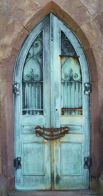 Door at Indian Hill Cemetery (Russell Chapel) in Middletown, Connecticut