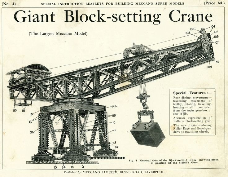 Cover of the plans for the Meccano giant block-setting crane. Powerhouse Museum collection.