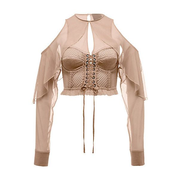 Mesh Bustier Top with Sleeves (4,690 MXN) ❤ liked on Polyvore featuring tops, shirts, crop top, wrap crop top, white long sleeve shirt, lace up crop top and ruffle sleeve top