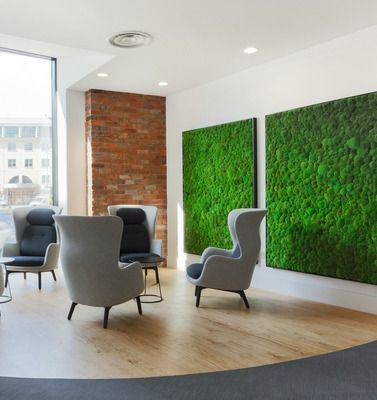 Biophilic office design is a key office design trend for 2017 so this breakout space with natural finishes looks great. A living wall, wood floors and exposed brick walls look great against traditional style high backed winged armchairs in light and dark grey.with a contemporary twist.