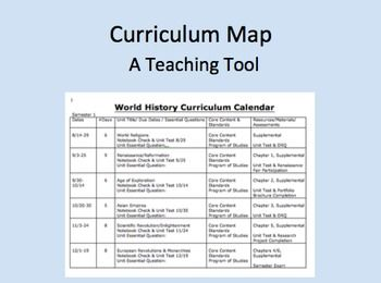 Free Curriculum Calendar or Map Template from Michele Luck's Social Studies!