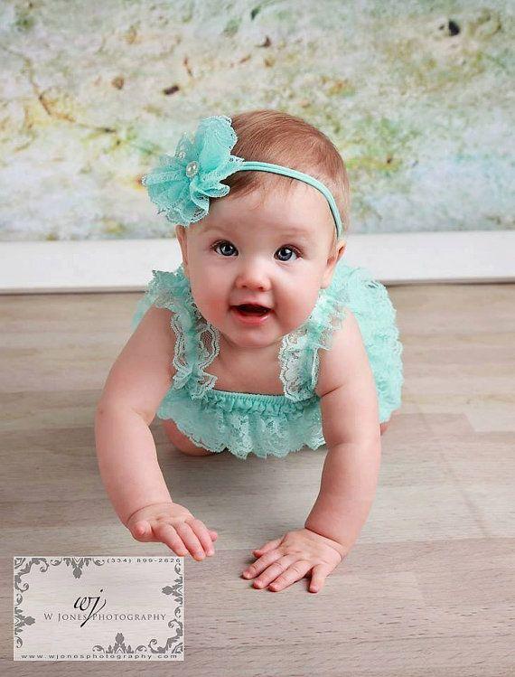 Aqua Lace Petti Romper and Headband Set, Baby Romper, Newborn Pettiromper, Smash Cake Birthday Outfit, Blue Vintage Clothing 6 9 12 24 Month
