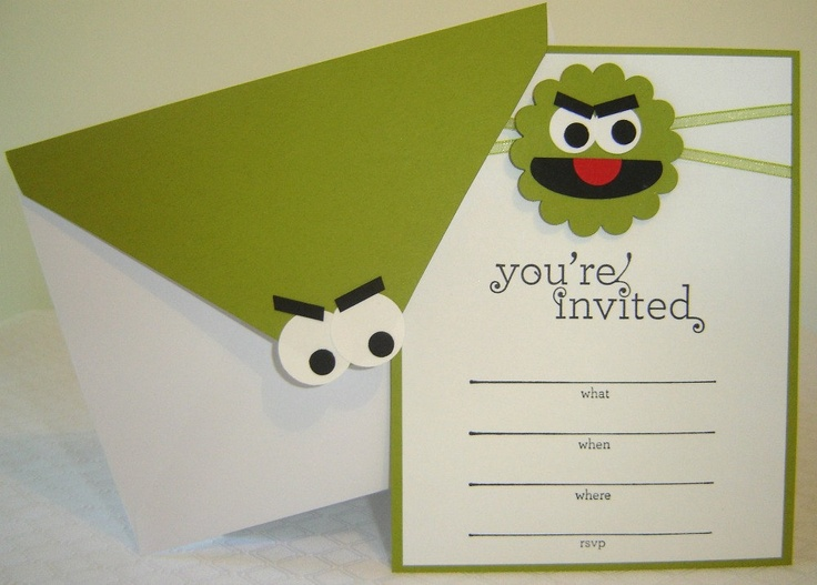 Oscar the Grouch Sesame Street Birthday Invitation. $2.75, via Etsy.