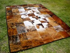 Patchwork Rug Cowhide Cow Hide Skin Carpet Leather hair on PA9 - brown white