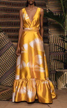 a0ec8c67ab3 Yellow Satin Dress by Johanna Ortiz Resort 2019