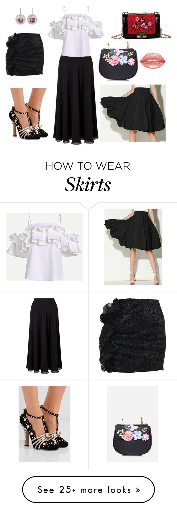 """1 top and heels 2 bag and 3 skirts"" by boglarka-voros on Polyvore featuring Jacques Vert, MSGM, WithChic, Nicole Lee and Gucci"