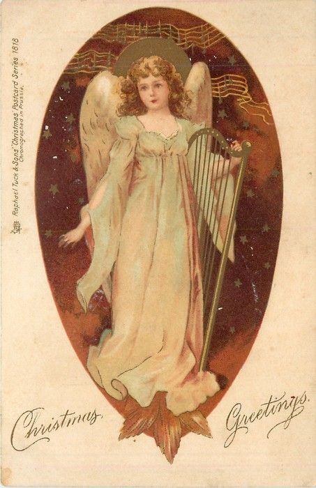 ■ Tuck DB...       angel holds harp, facing left/front, starry background   artist: possibly E.H. Clapsaddle (unsigned), (first used 24/12/1902)