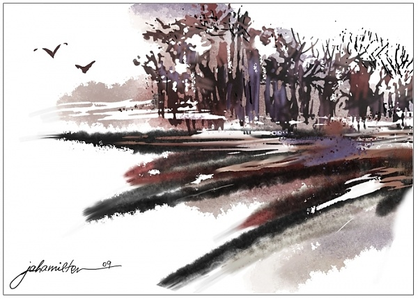 """After the Harvest Digital Waterclour Abstract"" - Digital Watercolour and Ink, in Snowy Landscapes"