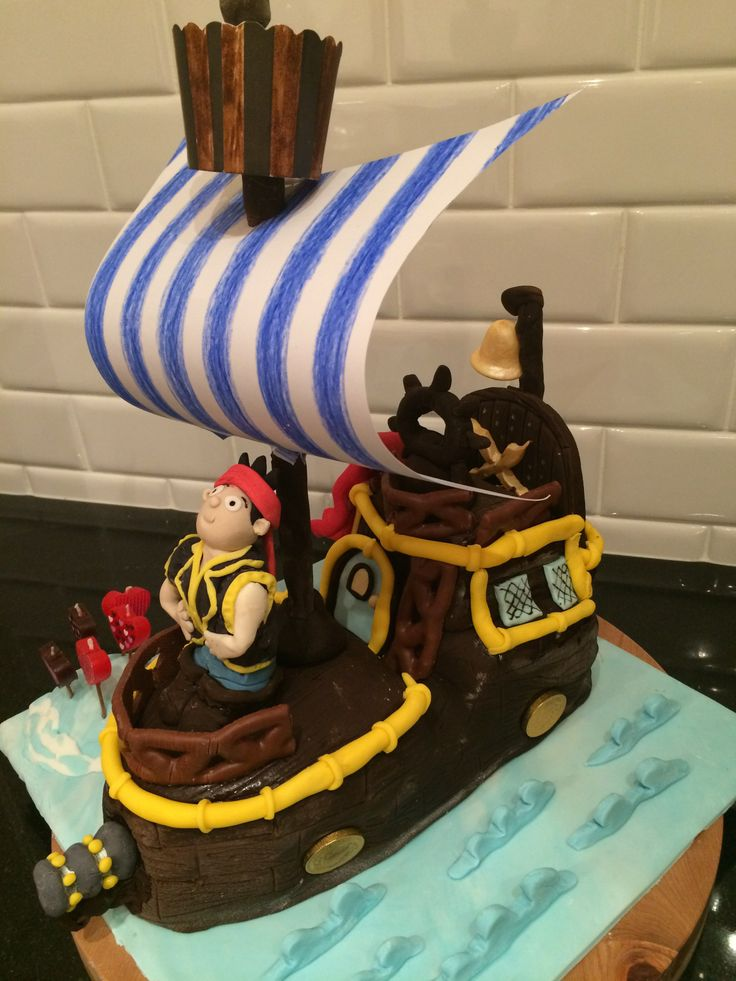 This is the Jake & The Neverland Pirate 'Bucky' cake I made for my daughters 5th birthday....A valuable lesson was learnt about using a more dense cake for carving for future cakes!