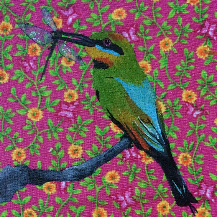 Rainbow bee-eater Gouache on fabric Mandy Tootell Katherine, NT Australia