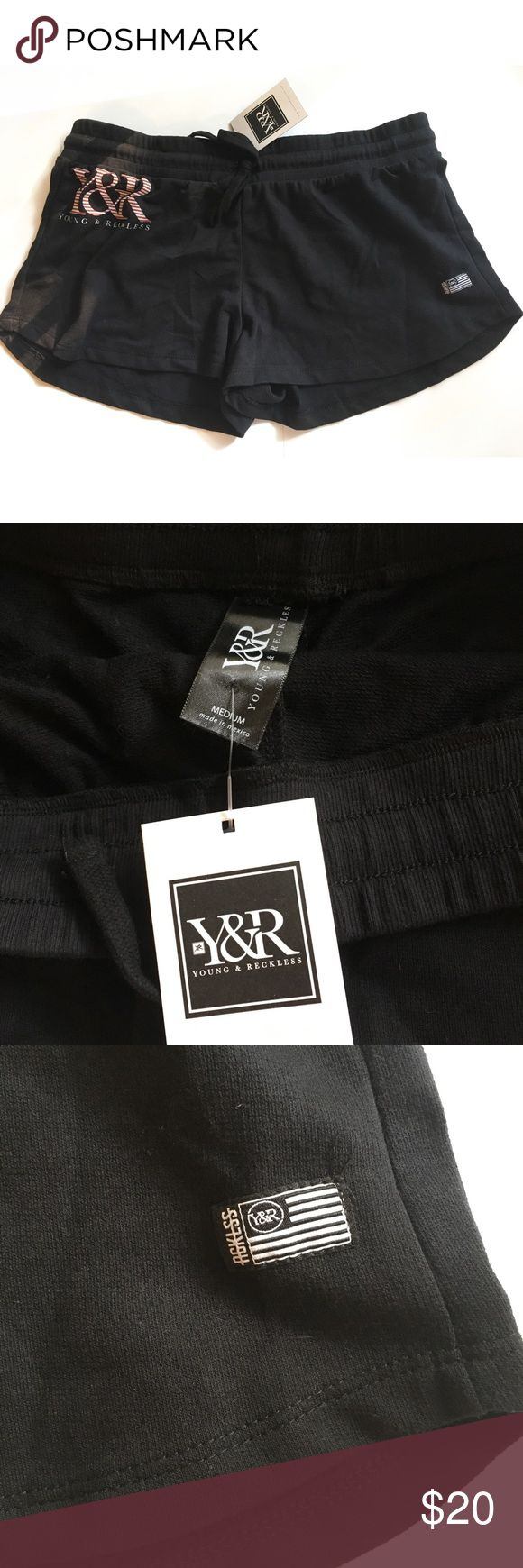 Young & Reckless black logo shorts Brand new Y&R logo