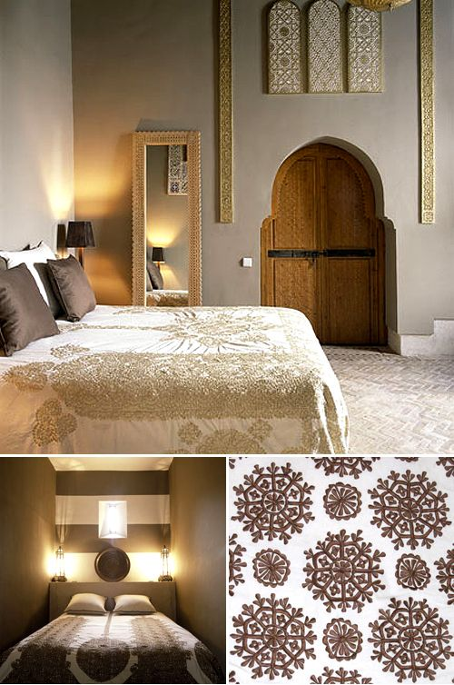 embroidered moroccan fabric also that skinny mirror done with lalji carving - Moroccan Bedroom Decorating Ideas