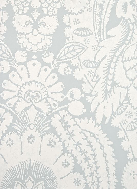 Large Print, Wide Width Damask Wallpaper On Pale Grey/blue Paper With Block  Printed White Damask Design. From Cole And Son Albemarle Collection Part 85