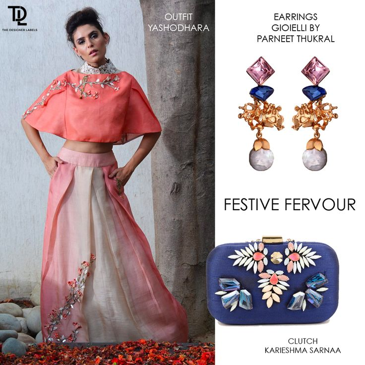 Add a pop of blue to Yashodhara's festive ensemble with this Karieshma Sarnaa clutch and Gioielli By Parneet Thukral earrings #indianfashion #festivewear #indianwedding #weddingwear #clutch #earrings