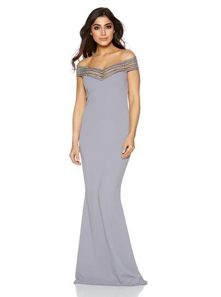 Grey Diamante Bardot Fishtail Maxi Dress