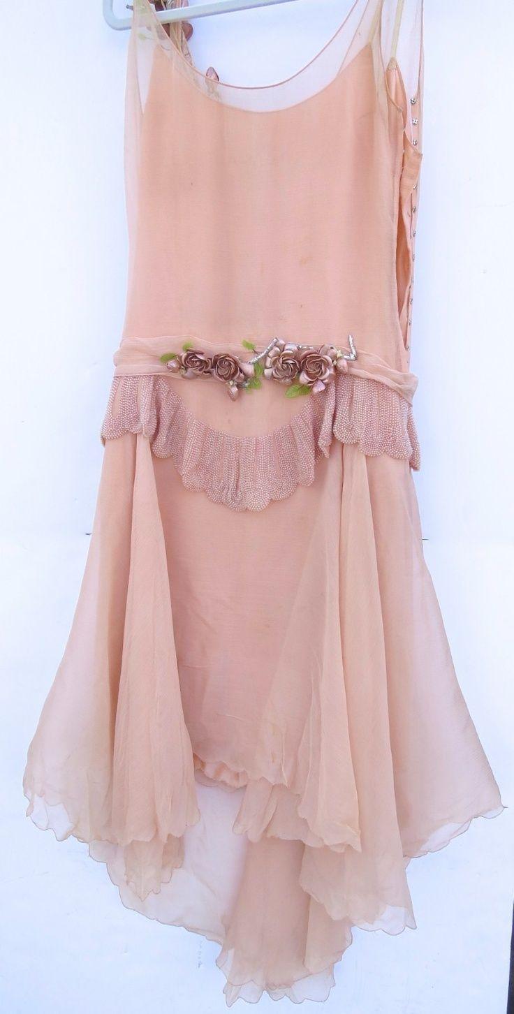 ~1920s pink beaded flapper dress~