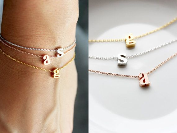 Hot Sales Initial Bracelet Lowercase Gold Silver/Rose Gold/Gold Letter Bracelet Custom Bridesmaid Gift Personalized Wedding