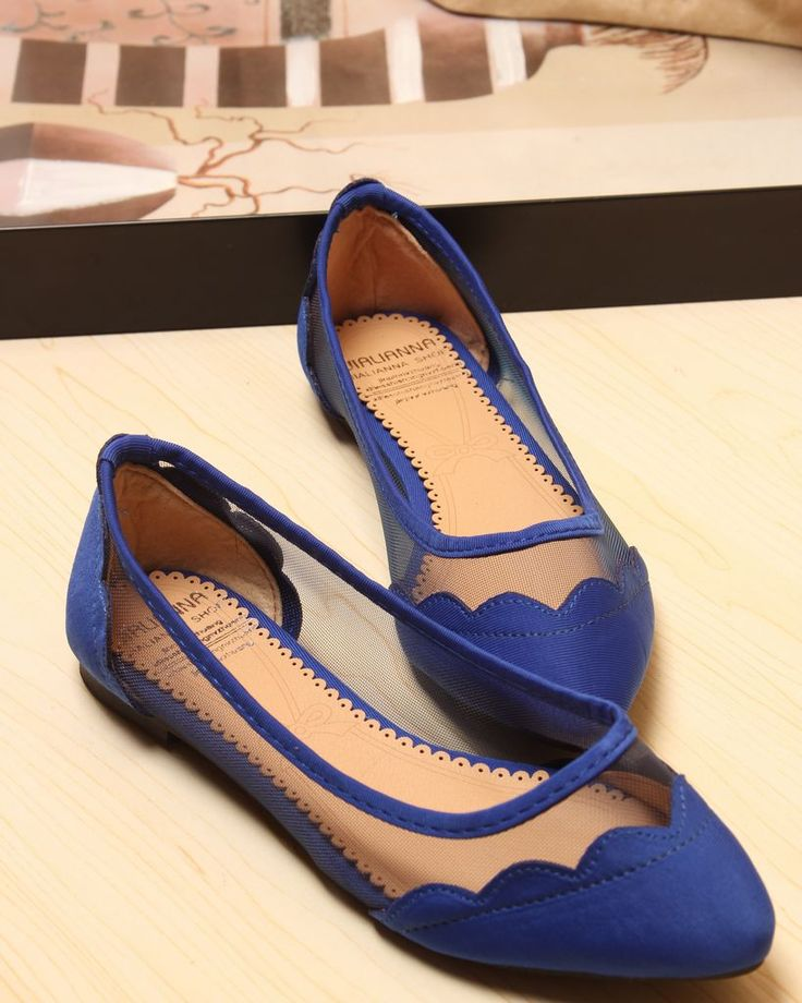 Vintage Pointed Toe Mesh Lace Shallow Mouth Flat Heel Flat ...