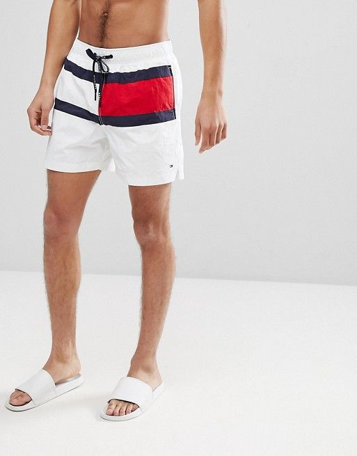 7fc06eee1d0761 Tommy Hilfiger | Tommy Hilfiger Medium Drawstring Large Icon Flag Swim  Shorts in White