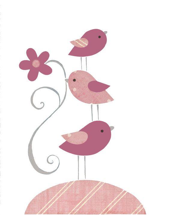 Pink Bird Nursery Gray Baby Decor Children's by PeanutAndButtons, $15.00