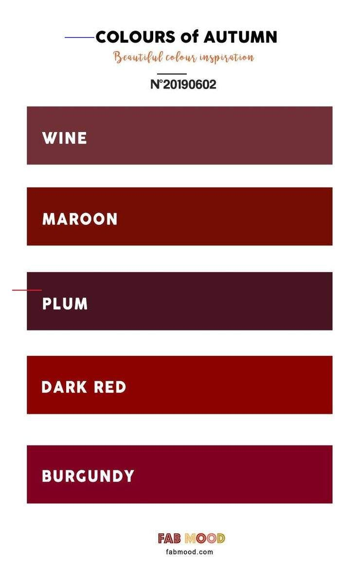 Pretty Autumn Color Palette Of Wine Maroon Plum Dark Red And Burgundy Pretty Autumn Color In 2020 Fall Color Palette Plum Color Palettes Pantone Colour Palettes