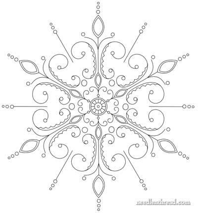 Snowflake Hand Embroidery Pattern Mandala