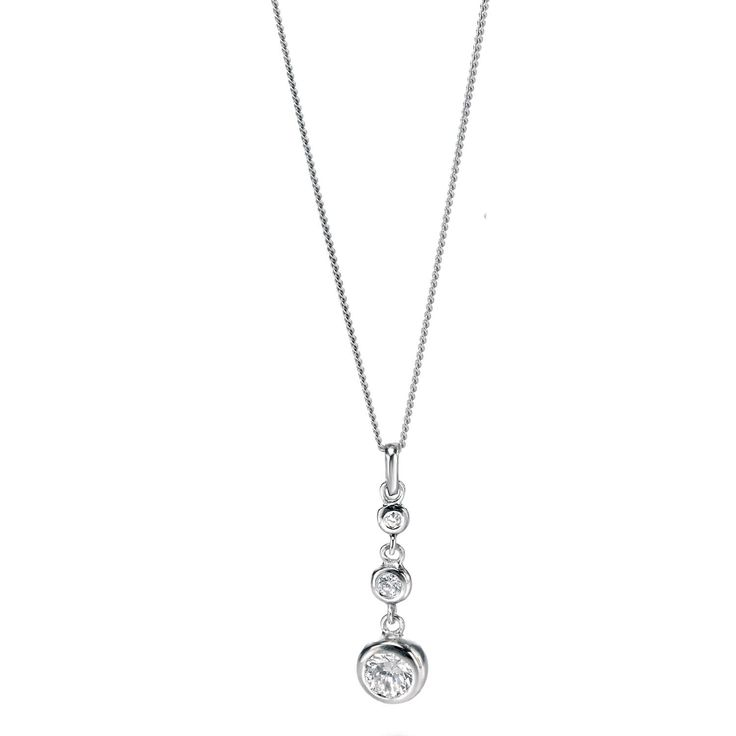 Fiorelli Silver Triple Crystal Sterling Silver Necklace - yourgifthouse