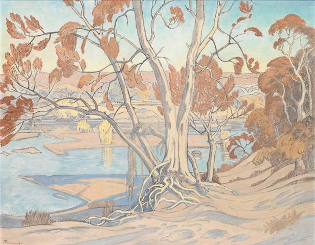 Jacob Hendrik Pierneef (South African, 1886-1957) Msasa trees on the Olifants River, Northern Transvaal