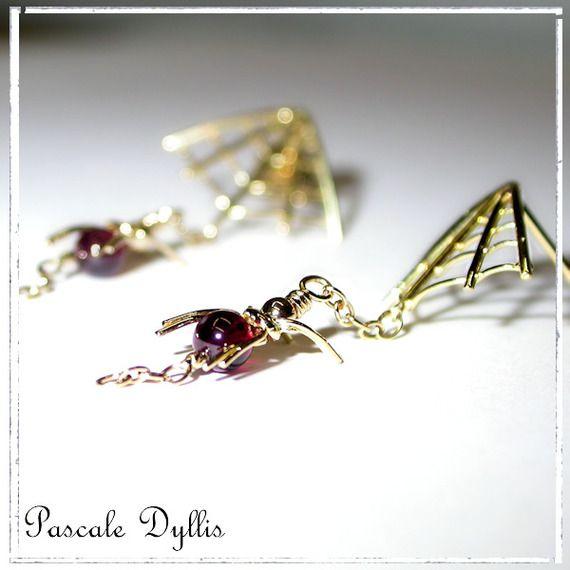 Boucles d'oreilles pendantes toiles araignées or jaune 750 et grenat - Boucles…