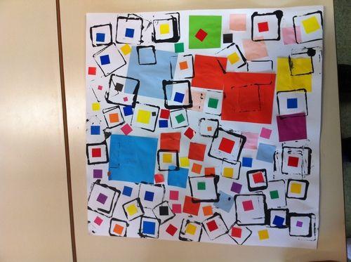 Le carré: collage et empreintes