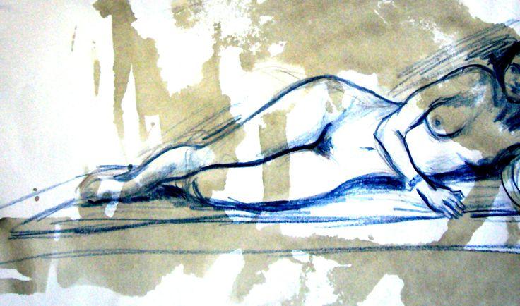 #Nudo, Studio di #Modella, #Donna Sdraiata   Disegnatrice #SaraMorghese