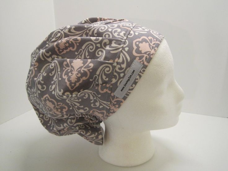 Pink and Gray Bouffant Scrub Hat, OR nurse hat, surgical tech, vet tech, pinkgray_bouf_2017 by sewingzen on Etsy