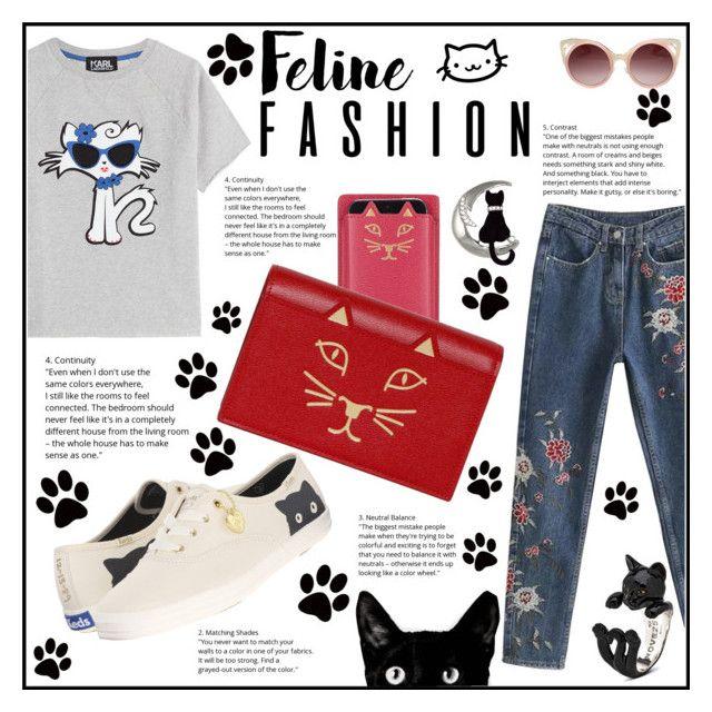"""Feline Spring"" by elisabetta-negro on Polyvore featuring moda, Keds, Karl Lagerfeld, Charlotte Olympia, WithChic, Minime e felinefashion"