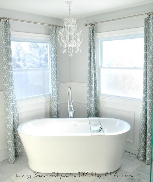 Chandelier Over Bathtub: Amazing Bathroom Redo. Love The Curtains, Colors