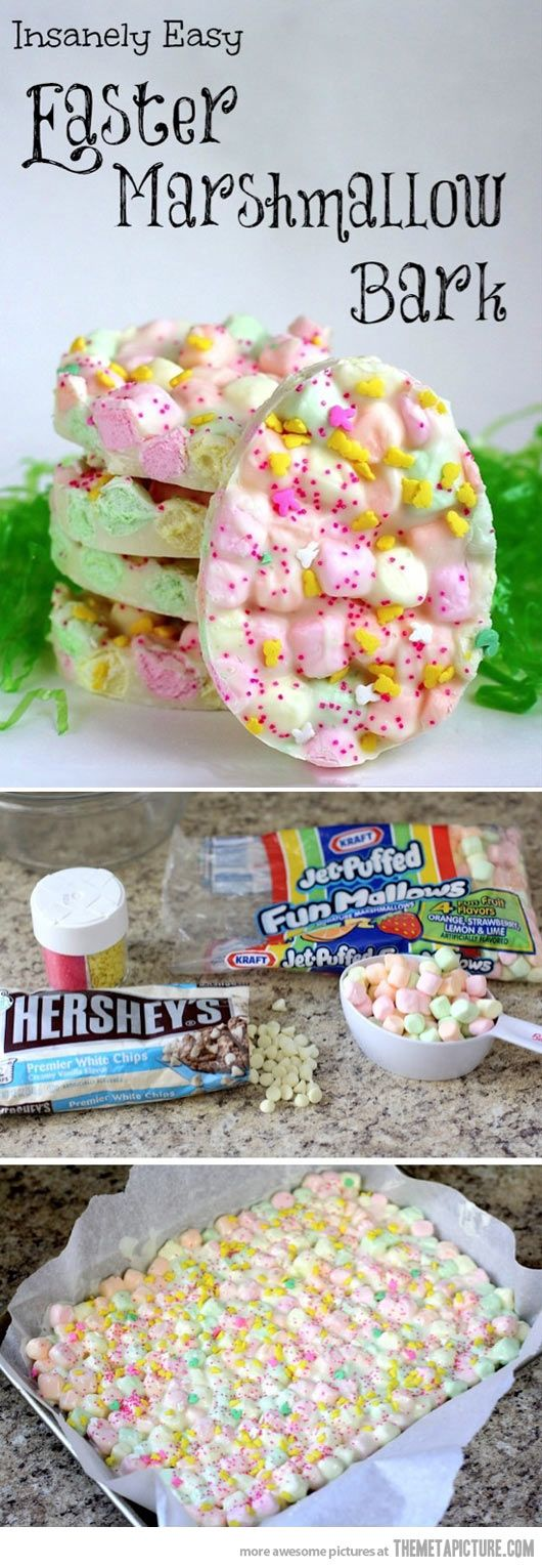Easter Marshmallow Bark… Very rich, add pretzels and peanuts!