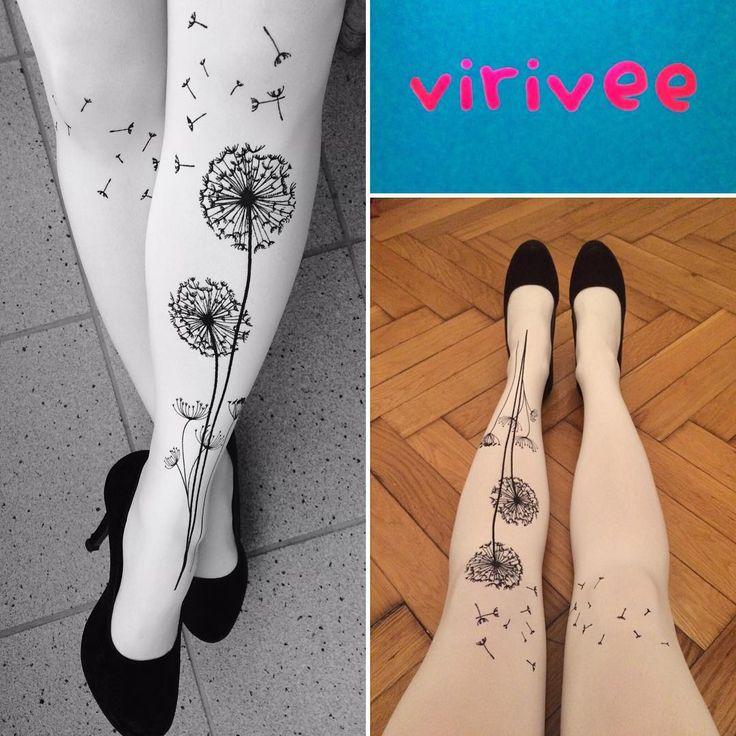 """Virivee dandelion tights. Photo by kisbrigii on Instgarm: Birthday's gift😍 😀💃🏻Thanks for#fourbonesquartet #virivee #viriveetights #wunderbar #geburtstagsgeschenk #wunschlosglücklich #pitypang #boldogszulinapot #boldogsagvan"""""""