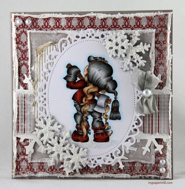 Christmas card. Magnolia image colored with Copics. Patterned paper by Maja Design.